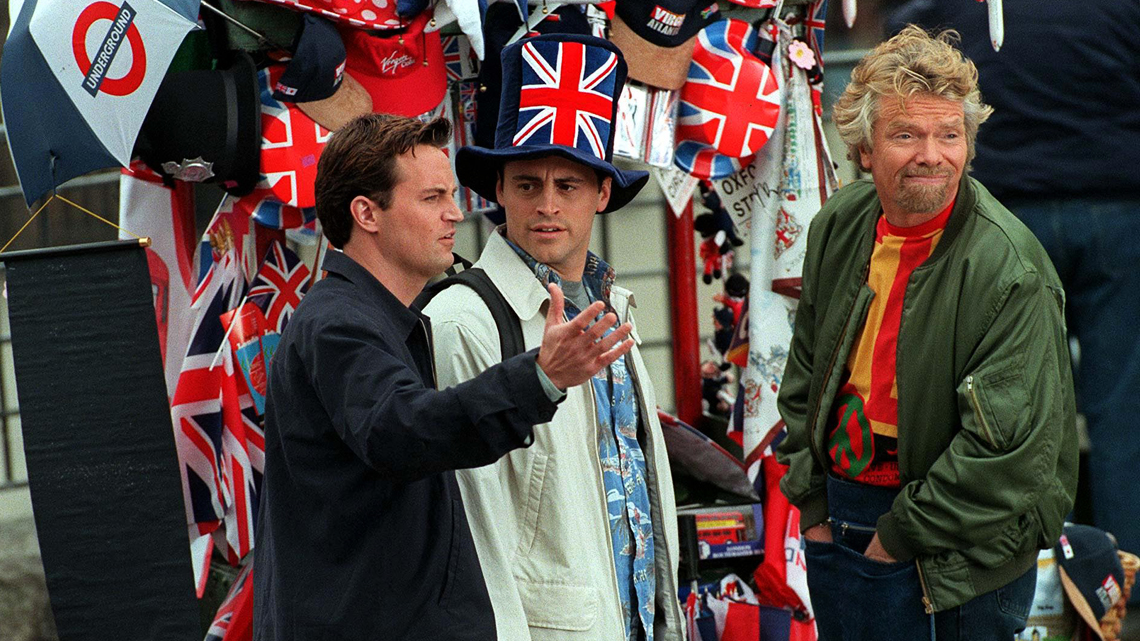 Mandatory Credit: Photo by REX (286407s) RICHARD BRANSON AND MATT LEBLANC AND MATTHEW PERRY FILMING OF FRIENDS TV AT WESTMINSTER ABBEY, LONDON, BRITAIN, 1998